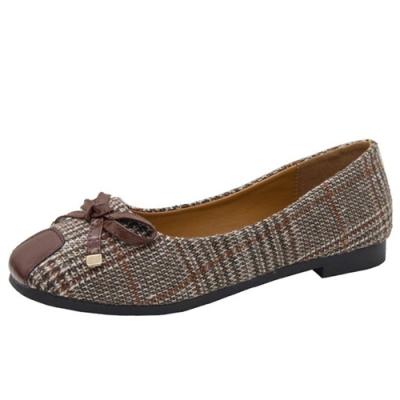 KEITH-WILL時尚鞋館 美搭款方格悠樂活淑女鞋-棕