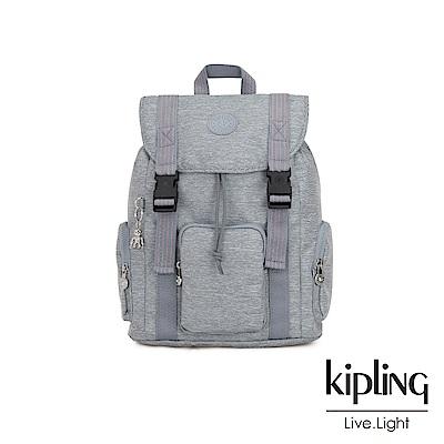 Kipling 極簡風淺灰丹寧插扣束口掀蓋式後背包-IZIR