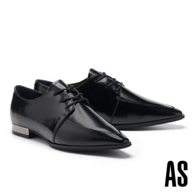 低跟鞋 AS 率性時髦牛皮尖頭低跟鞋-黑
