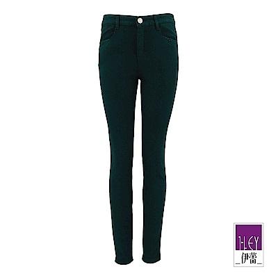 ILEY伊蕾 -5kg修身彈力斜紋窄管褲(綠)