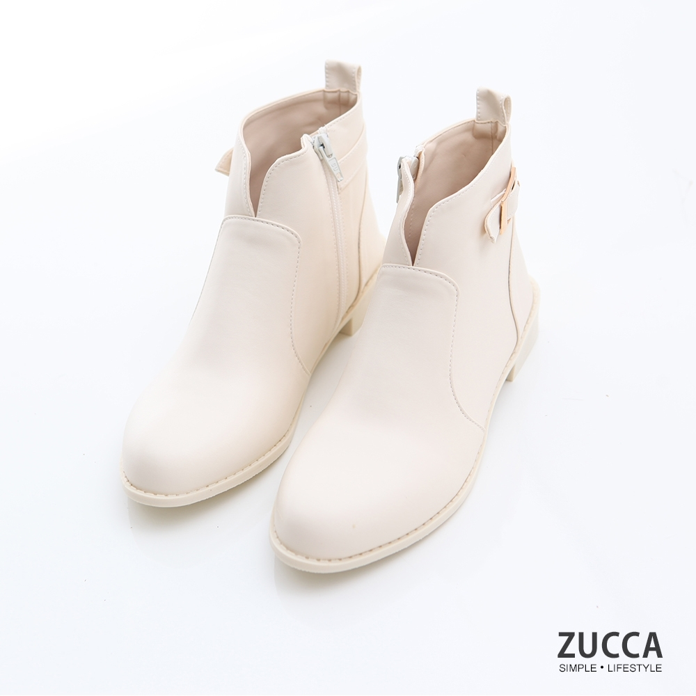 ZUCCA-金屬皮革V釦環短靴-白-z6908we