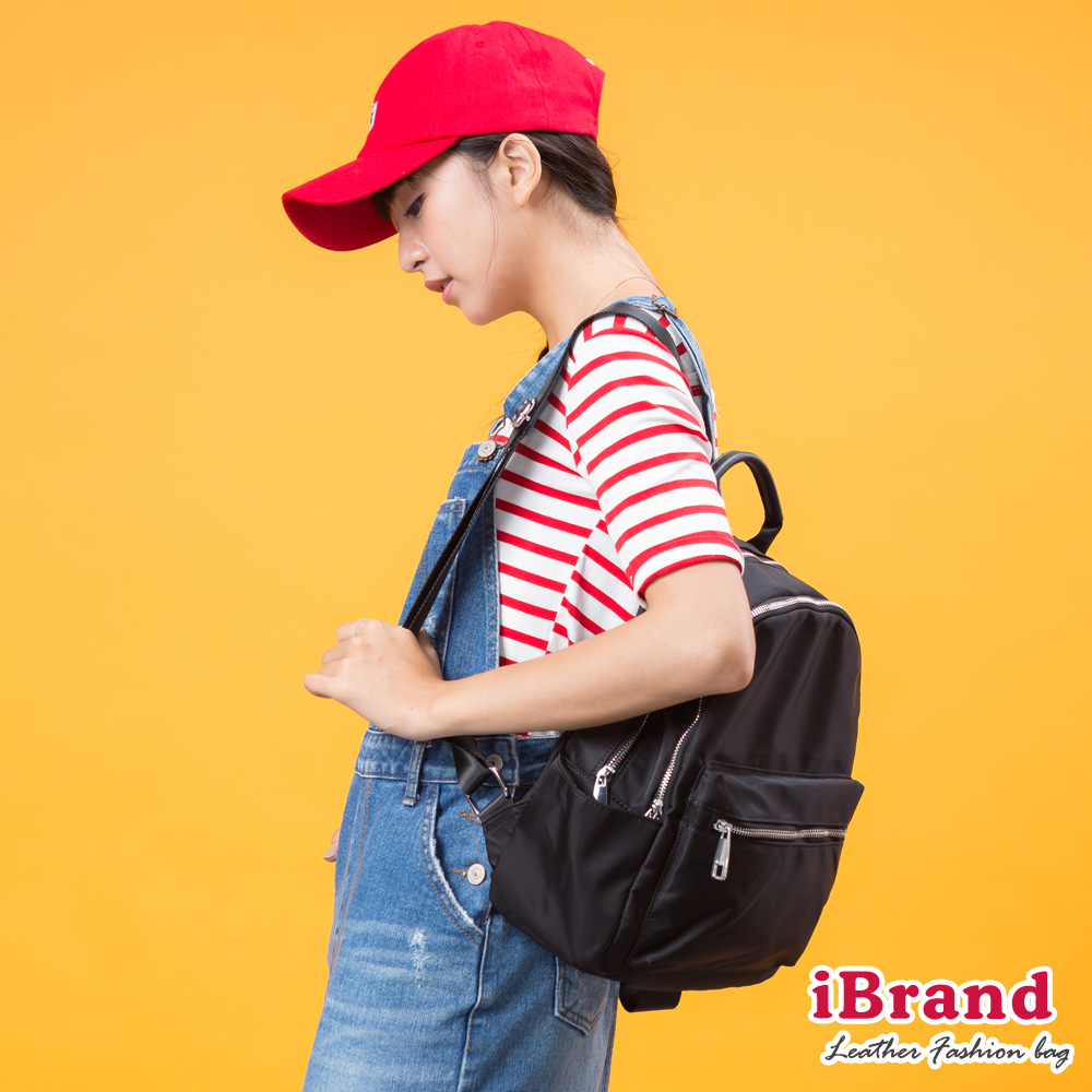 iBrand後背包 素面真皮雙層拉鍊後背包-黑