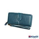 Kiiwi O! 真皮素面大容量手拿長夾 藍綠