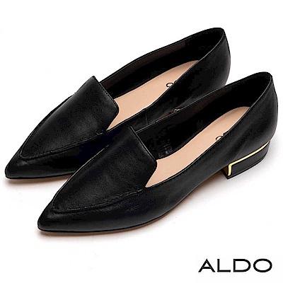 ALDO 原色真皮金屬鑲邊粗跟尖頭樂福鞋~尊爵黑色