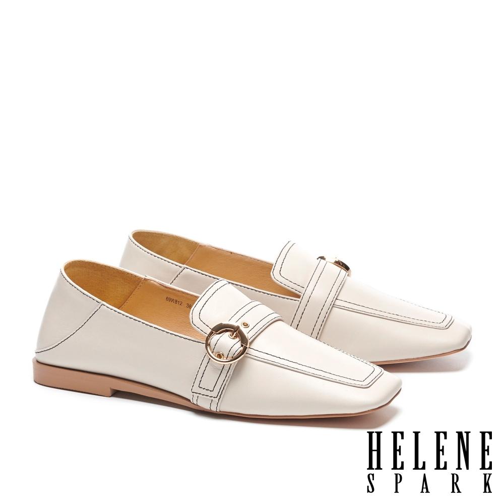 低跟鞋 HELENE SPARK 復古知性全真皮樂福方頭低跟鞋-白
