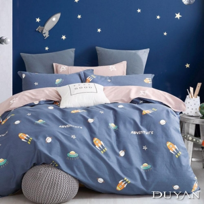 DUYAN竹漾 100%精梳純棉 雙人床包三件組-太空冒險 台灣製