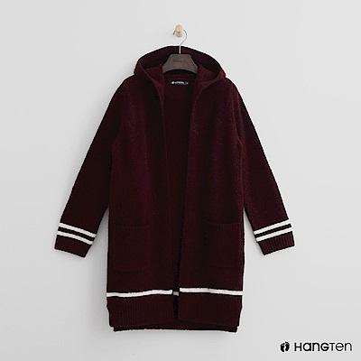 Hang Ten - 女裝 - 雙口袋連帽針織外套-紅