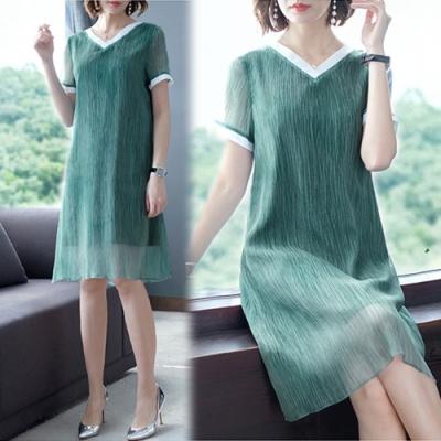 【韓國K.W.】輕柔夏日氛圍短袖洋裝