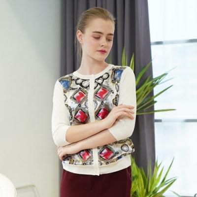闕蘭絹拼接滑布寶石蠶絲針織外套 (白) - 6617