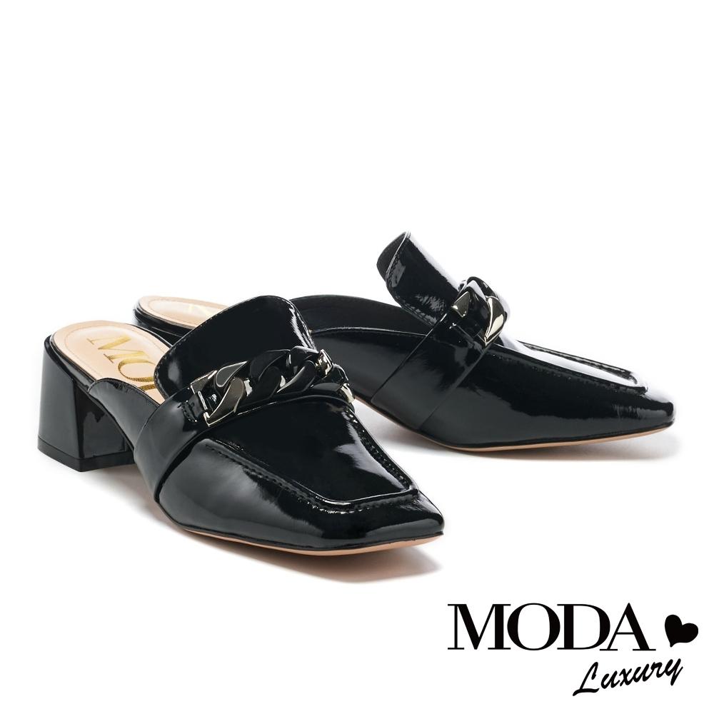 拖鞋 MODA Luxury 復古個性金屬鏈條高跟穆勒拖鞋-黑