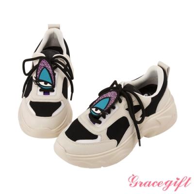 Disney collection by gracegift反派電繡徽章老爹鞋 米白