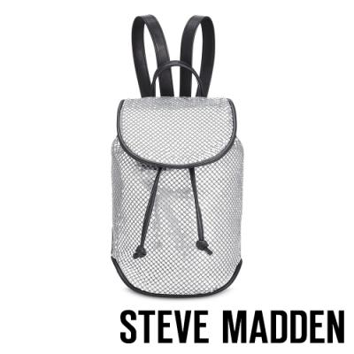 STEVE MADDEN-BAPRIL 個性皮質幾何束口後背包-特殊紋銀色