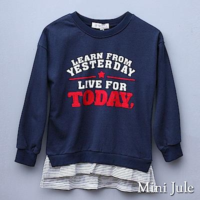 Mini Jule 大童 上衣 假兩件針織字母造型印花長袖上衣(寶藍)