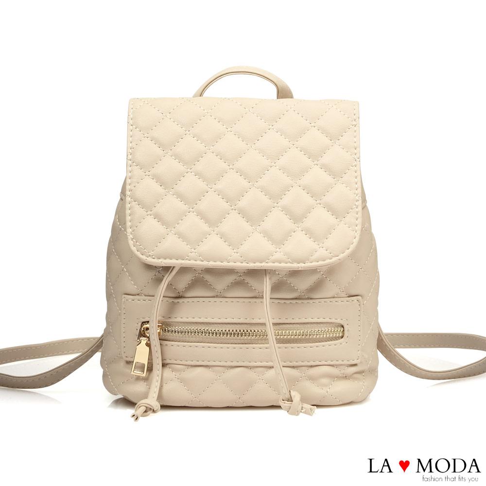 La Moda 人氣小香風菱格紋車線大容量多背法肩背斜背後背包(白)