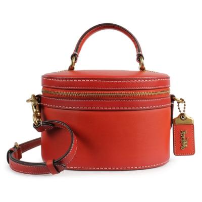 COACH Trail素面皮革拉鍊半圓造型手提/肩斜背二用包-紅色