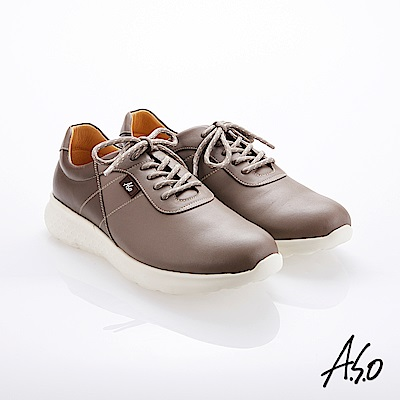 A.S.O霸足氣墊 綁帶拼色牛皮氣墊休閒鞋 灰