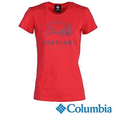 Columbia 哥倫比亞 女-防曬30快排上衣-紅色 UAR19740RD