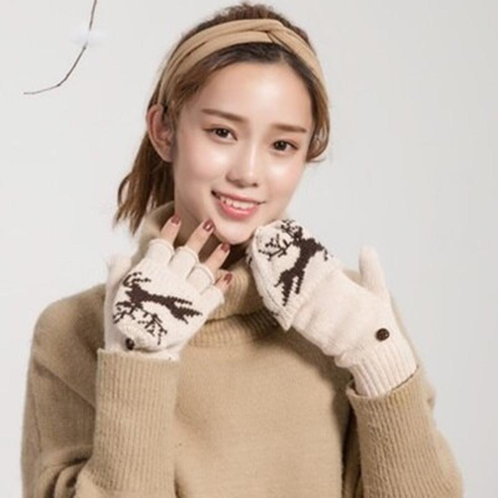 米蘭精品 羊毛手套針織手套-保暖麋鹿翻蓋兩用男女手套4色73or22