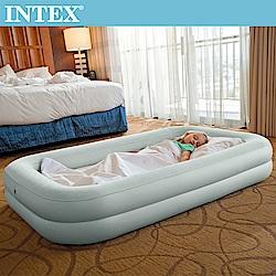INTEX 安全防滾落兒童植絨充氣床-附手壓幫浦(66810)