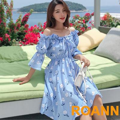 花邊抽繩一字領碎花雪紡洋裝 (藍色)-ROANN