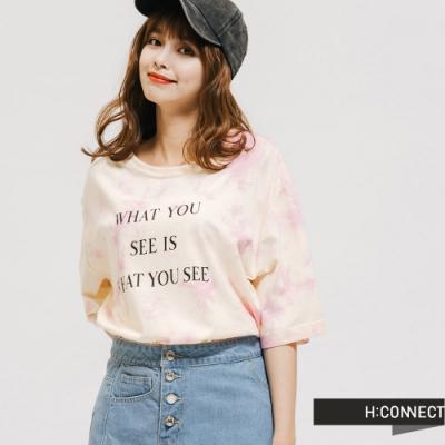 H:CONNECT 韓國品牌 女裝 -純棉個性暈染標語T-Shirt-粉