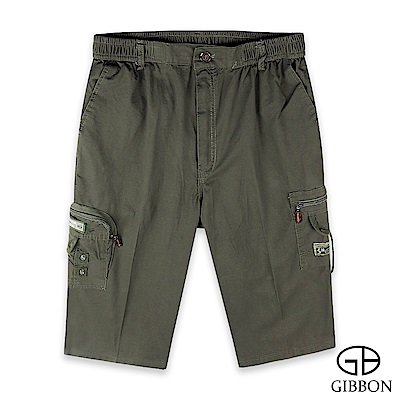 GIBBON 鬆緊純棉美式七分短褲-二色