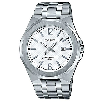 CASIO 現代都會城市風格型男不鏽鋼腕錶-白面(MTP-E158D-7A)/44mm