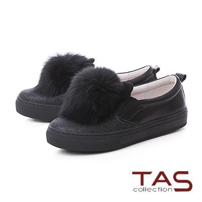TAS兔耳造型毛球牛皮懶人休閒鞋-神秘黑