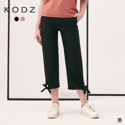 東京著衣-KODZ 可愛休閒褲腳綁帶造型寬褲-S.M
