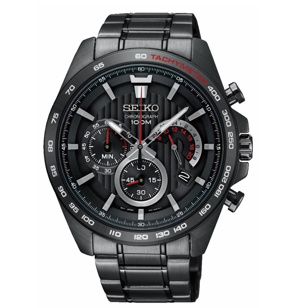 SEIKO 精工豪氣奔騰三眼計時運動腕錶/8T63-00G0SD/SSB311P1