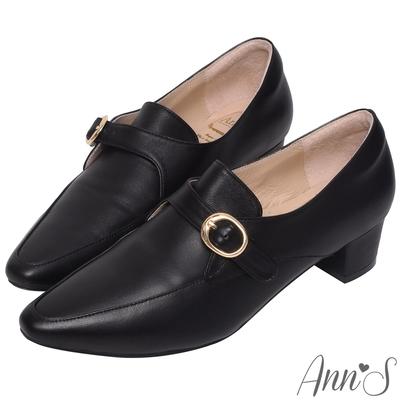 Ann'S手工製作頂級綿羊皮氣質金扣低跟踝靴-黑