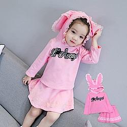 小衣衫童裝   可愛小女生蕾絲花邊連帽上衣短裙套裝1060910