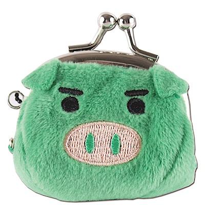 可愛豬造型小珠扣包 綠色UNIQUE