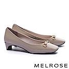 高跟鞋 MELROSE 復古雅緻百搭軟漆皮方頭高跟鞋-米
