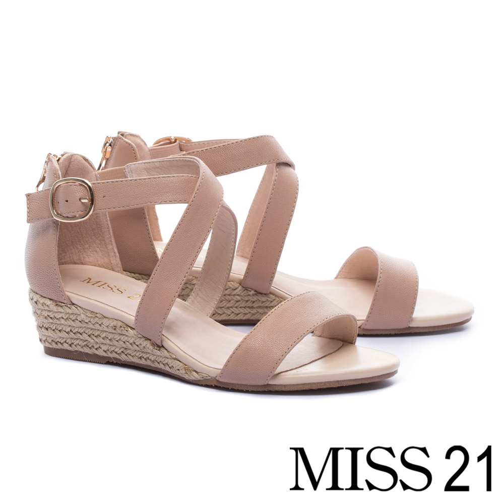 涼鞋 MISS 21 百搭實穿一字交叉繫帶羊皮草編楔型高跟涼鞋-米