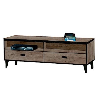 綠活居 納夫時尚4尺木紋電視櫃/視聽櫃-120.7x40x45.5cm-免組
