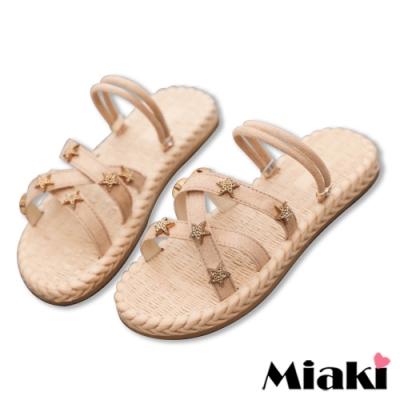 Miaki-拖鞋韓風2穿麻編造型涼鞋-卡其