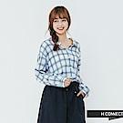 H:CONNECT 韓國品牌 女裝-落肩格紋棉質襯衫-白