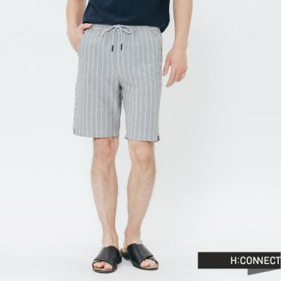 H:CONNECT 韓國品牌 男裝-側拼接條紋鬆緊短褲-灰