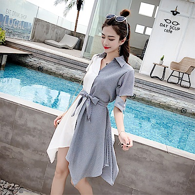 DABI 韓國風優雅拼接拼色顯瘦條紋長袖洋裝