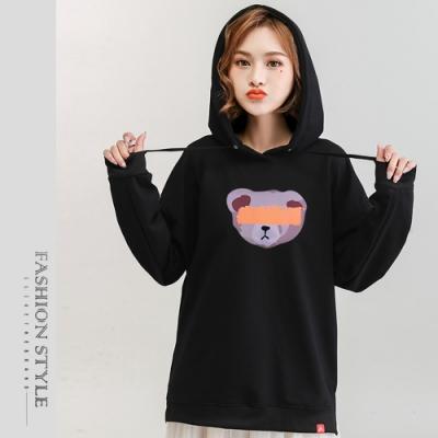 2F韓衣-連帽童趣小熊精梳棉印花上衣-5色(M-2XL)