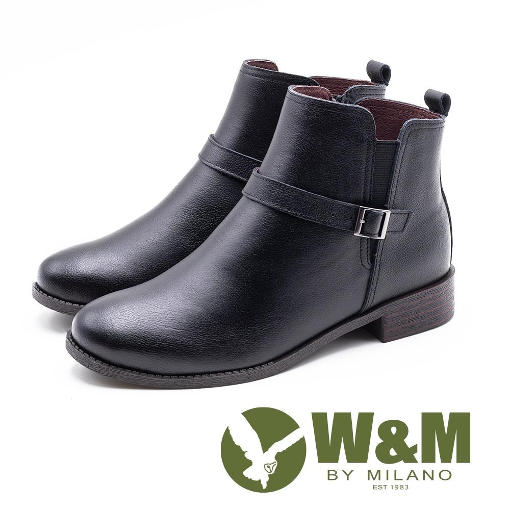 W&M 簡約素面小釦飾 拉鍊短靴 女鞋 - 黑(另有淺咖)