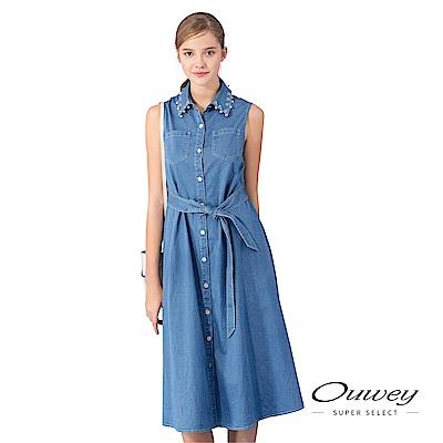 OUWEY歐薇 珠飾造型領片長版牛仔洋裝(藍)