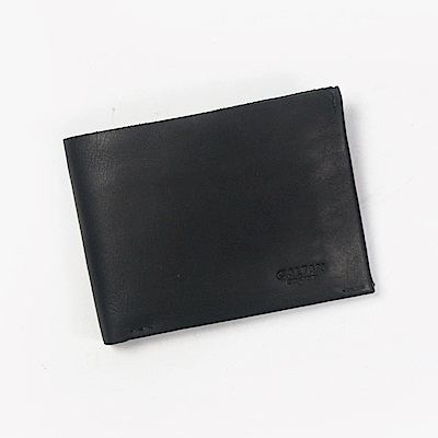 CALTAN-男夾 短夾 男用皮件 鈔票夾 信用卡夾 粗曠無修邊風-1884ht-bk