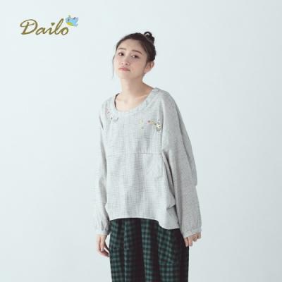 新降【Dailo】刺繡樂章格紋-上衣(三色)