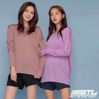 STL yoga Line Fresh Crape 韓國瑜珈 運動機能  一字領落肩長版寬鬆長袖上衣 乾燥玫瑰