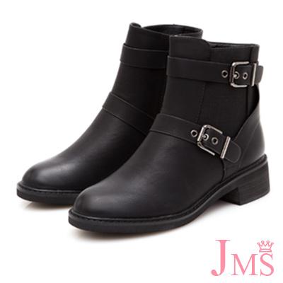JMS-帥氣馬蹄形雙扣環工程短靴-黑色