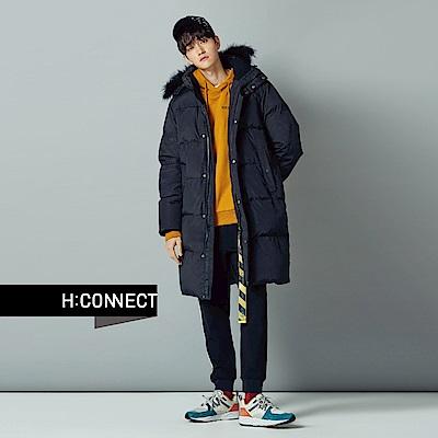 H:CONNECT 韓國品牌 男裝-電繡文字質感抽繩帽T-黃