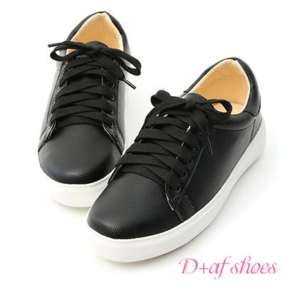 D+AF 日常焦點.百搭加厚底綁帶休閒鞋*黑