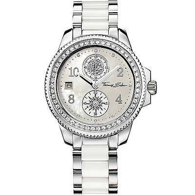 Thomas Sabo It Girl 太陽女神陶瓷晶鑽腕錶-珍珠貝/39mm